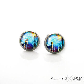 Pure Anium Jewelry Earrings For Sensitive Ears Turquoise Blue Van Gogh Hypoallergenic Stud