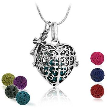 "Premium Heart Aromatherapy Essential Oil Diffuser Necklace Locket Pendant and 7 Colours Lava Stone Beads with Adjustable 24"" Chain Perfect Gift Set"