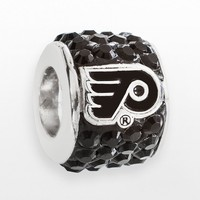 LogoArt Philadelphia Flyers Sterling Silver Crystal Logo Bead - Made with Swarovski Elements (Black)
