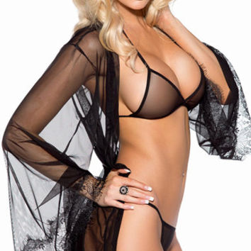 Sheer Mesh and Eyelash Lace Robe Set