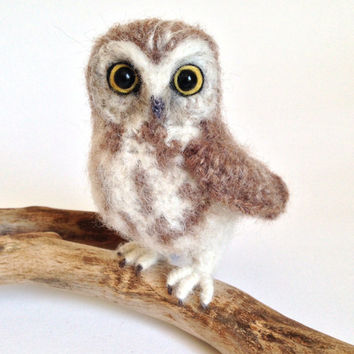 Northern Saw-Whet Owl life-like owl crochet sculpture