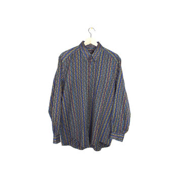 JHANE BARNES woven shirt - vintage 90s - blue +  teal + gold - long sleeve button down - mens medium - large