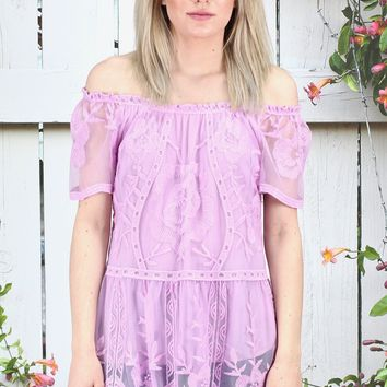 Off Shoulder Solid Lace Blouse {Lavender}