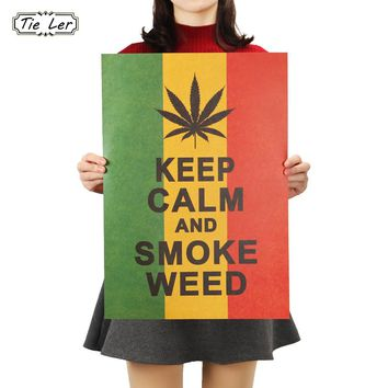 TIE LER Home Decor Poster Jamaican Reggae Style To Keep Calm Wall Stickers Retro Kraft Bar Home Decoration