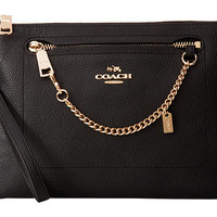 COACH Polished Pebbled Prairie Wristlet