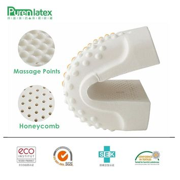 PurenLatex 50x30 Thailand Imported Material Pure Natural Latex Pillow Remedial Neck Protect Spot Massage Pillow Student Kids Use