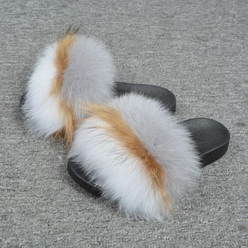 Women Real Fox Fur Fashion Flat Indoor Ourdoor Spring Summer Slipper Shoes66021A