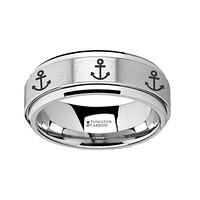 Nautical Theme Ship Anchor Engraved Tungsten Spinner Ring
