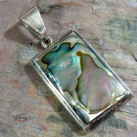 Sterling Silver Abalone Shell Pendant 925 Necklace Pendant Rich Luminescent Colorful Paua Seashell Rectangle Large Bale for Chain Cord Etc.