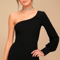 Truth or Dare Black One-Shoulder Romper