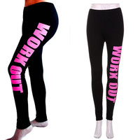 "Black Graphic ""Workout Leggings"" - 3 Variants"
