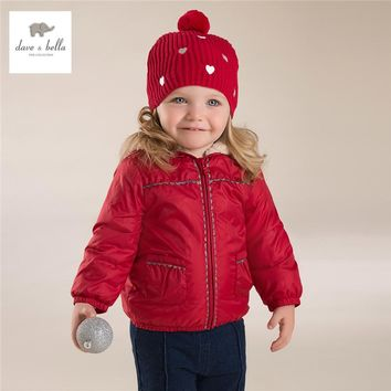 DB4267  davebella autumn winter baby girls red hooded coat