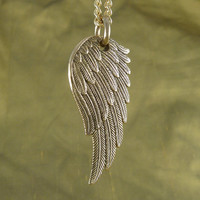 "Angel Wing Necklace - Bronze Angel Wing Pendant on 24"" Gold Plated Chain"