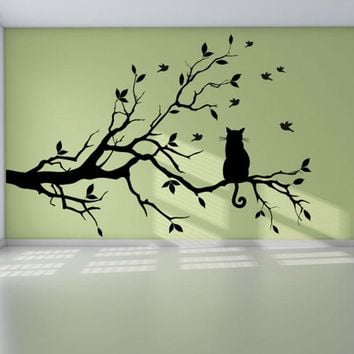 Cat On The Tree Branch With Birds Removable Waterproof Decals