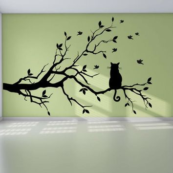 Cat on the Tree - Wall Decoration Decal