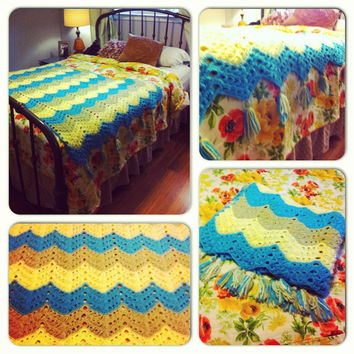 Chevron Crochet  Afghan Blanket Crochet Afghan Throw Yellow Green Blue