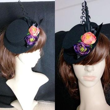 Goth Steampunk Costume Gothic Lolita Black Feathers Flower Mini Top Hat