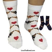 Dachshund Socks Short and Sweet White and Navy LIMITED EDITION