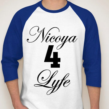 Nicoya 4 Lyfe White & Royal Sporty Sleeve T-Shirt Available for Men and Women in sizes Small to 2XL