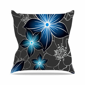 "Alison Coxon ""Charcoal And Cobalt"" Gray Blue Outdoor Throw Pillow"