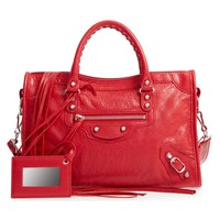 BALENCIAGA Small Classic City Logo Strap Satchel Leather Tote Bag