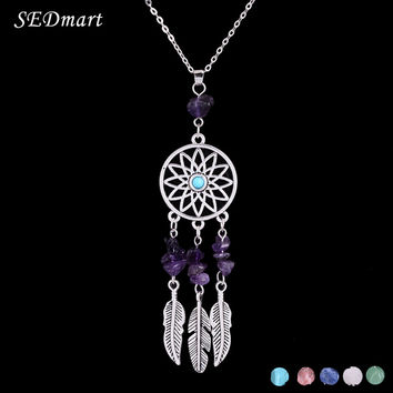 SEDmart Indian Feather Dreamcatcher Reiki Amethyst Natural Stone Pendant Necklace Ethnic Boho Antique Silver Women Necklace