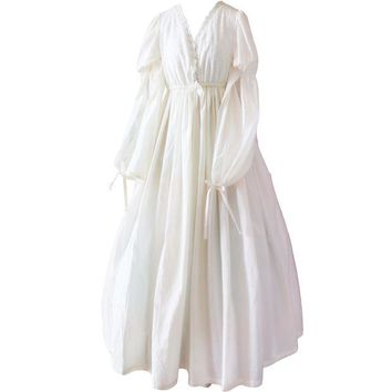 DCCKU62 Vintage Sexy Sleepwear Women Cotton Medieval Nightgown White V-neck Queen Dress Night Dress Lolita Princess Home Dress