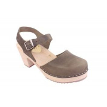 Lotta From Stockholm Classic High Heel Covered Mary Jane Style Clogs From Lotta in Dark Taupe