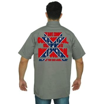Men's Confederate Rebel Flag Mechanic Work Shirt What We Need Is Idiot Control