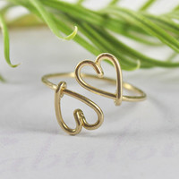 Double Heart Ring - Heart To Heart Love And Friendship Symbol, 14K Gold Filled Wire