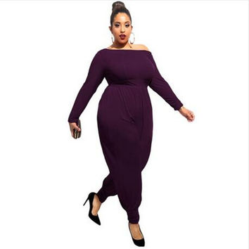 Adogirl 3XL Plus Size Rompers Womens Jumpsuit Slash Neck Off the Shoulder Purple Harem Overalls Ladies Long Sleeve Playsuit