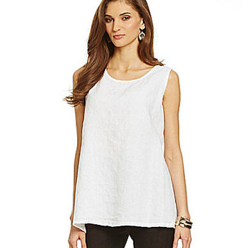 Bryn Walker Windowpane Linen Long Trapeze Tank - White
