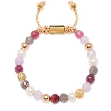Women's Beaded Bracelet with Ruby, Amethyst Lavender, Pearls and Labradorite