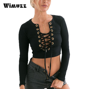 Wimuzz Lace Up Knitted Crop Top Women Long Sleeve Sexy Short T Shirt Bustier Autumn Winter Black Cropped Tops