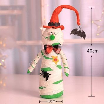 Halloween Door Hanger Doll Standing Ornaments Prop Black Cat Mummy Pumpkin Witch