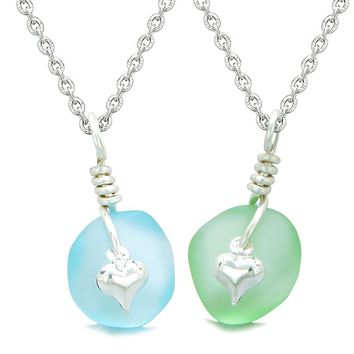 Twisted Twincies Heart Small Sea Glass Lucky Charm Love Couples BFF Set Sky Blue Mint Green Necklaces