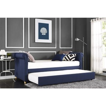 DHP Sophia Navy Linen Upholstered Daybed and Trundle   Overstock.com Shopping - The Best Deals on Kids' Beds