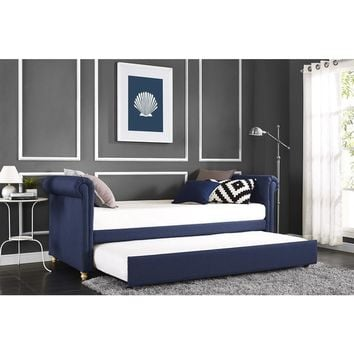 DHP Sophia Navy Linen Upholstered Daybed and Trundle | Overstock.com Shopping - The Best Deals on Kids' Beds