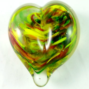 Handmade Yellow, Green, and Red Art Glass Heart Paperweight, SECOND