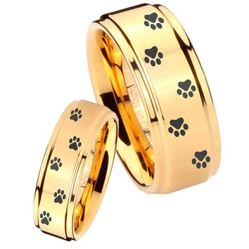 His Her Glossy Step Edges Paw Print Design 14K Gold IP Tungsten Wedding Rings Set