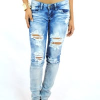 (amn) Distressed medium wash jeans