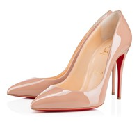 Cl Christian Louboutin Pigalle Follies Nude Patent Leather 100mm Stiletto Heel - Best Online Sale