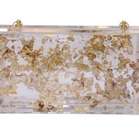 Glitter  Flowing Perspex Clutcth Transparent Bag