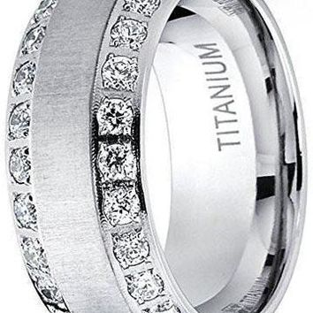CERTIFIED 8mm Men's Titanium Dome Brushed Finished Wedding Band Engagement Ring with Cubic Zirconia