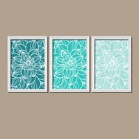 Teal Turquoise Bedroom Wall Art Bathroom Wall Art Bedroom Pictures Flower Wall Art Flower Pictures Dahlia Flower Prints Set of 3 Home Decor