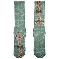 Giraffe Geek Math Formulas All Over Soft Socks