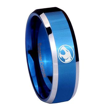 10mm Thundercats Beveled Edges Blue 2 Tone Tungsten Men's Engagement Band