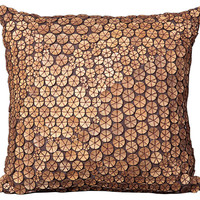 Button 20x20 Pillow, Brown
