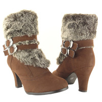 Womens Ankle Boots Fur Cuff Suede High Heel Brown