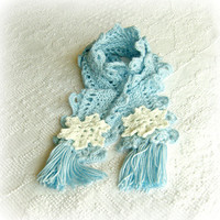 20 OFF  Blue Snowflake Scarf  Crocheted by PriscillaCashApparel